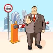 Boss prohibits. Barrier. Buildings Stock Illustration