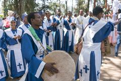 Ethiopian Orthodox Church Choir - stock photo