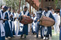 Ethiopian Orthodox Church Choir - stock photo