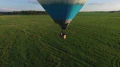 Blue air balloon aerial shot 3 Stock Footage