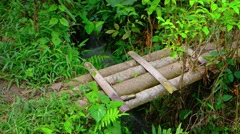 Improvised bamboo Bridge over Irrigation Canal in Bali, with Sound Stock Footage