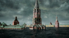 Apocalyptic water view. urban flood, Russian red square. Storm. 3d render Stock Footage