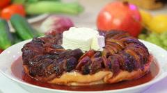 Freshly baked fruitcake with icecream Stock Footage