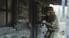 Army soldiers storm house to free hostage Stock Footage