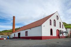 Rum factory building view in Porto da Cruz, Madeira - stock photo