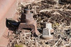 Old and lost Railroadtrack with nut and bolt Stock Photos