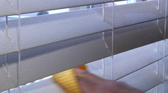Cleaning Dirty Blinds In House - stock footage