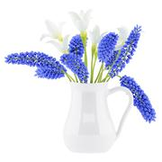 flowers in vase isolated on white background. 3d illustration - stock illustration