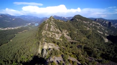 Aerial view: Mountain ridge. Vall de Lord and Llosa del Cavall reservoir - stock footage