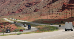 Southern Utah red rock Moab highway traffic DCI 4K Stock Footage