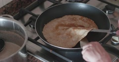 slightly burnt pancake - stock footage