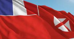 Beautiful looping flag blowing in wind: Wallis Futuna Local Stock Footage