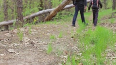 Tourist on a Walk in the Woods Stock Footage