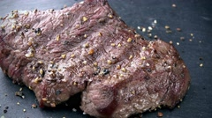 Portion of grilled Beef (not loopable; 4K) Stock Footage