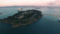 4K Aerial drone shot San Francisco around Treasure Island Stock Footage