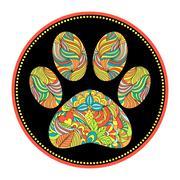 abstract animal paw print - stock illustration