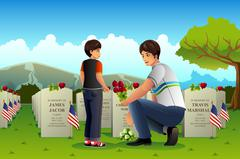 Father Son Visiting Cemetery on Memorial Day - stock illustration