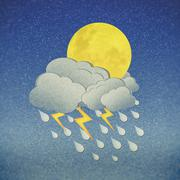 Grunge recycled paper moon in the night with rain - stock illustration