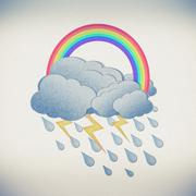 Grunge recycled paper rainbow with rain on white background - stock illustration