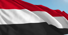 Beautiful looping flag blowing in wind: Yemen - stock footage