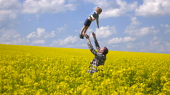 Happy farmer and son Stock Footage