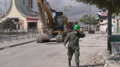 Military Equipment And Personnel After April 2016 Earthquake Stock Footage