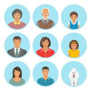 African American family faces flat vector avatars set - stock illustration