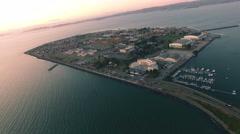 4K Aerial drone shot San Francisco flight over toward treasure island sunset. Stock Footage