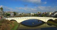 Marina Del Rey bridge drone Stock Footage