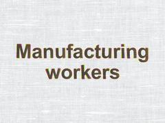 Industry concept: Manufacturing Workers on fabric texture background Stock Illustration