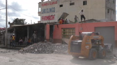 Earthquake Leveled Home Cleaned By Authorities Stock Footage