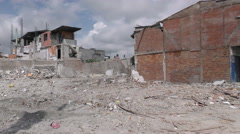 Large Building Area Leveled By The April Earthquake Stock Footage