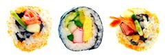 Sushi roll with rice isolated on white background - stock photo