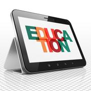 Studying concept: Tablet Computer with Education on  display - stock illustration