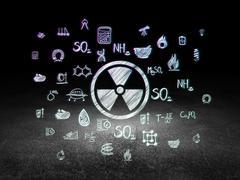 Science concept: Radiation in grunge dark room Stock Illustration