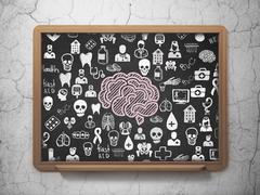 Health concept: Brain on School board background - stock illustration