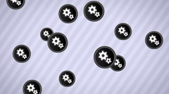 Falling gear icons. Looping. Alpha channel. Stock Footage