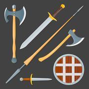medieval cold weapon illustration set. - stock illustration