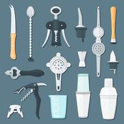 barman equipment flat illustration set. - stock illustration