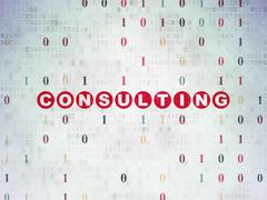 Finance concept: Consulting on Digital Data Paper background - stock illustration