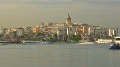 Maritime traffic in the Golden Horn Bay. Istanbul Stock Footage