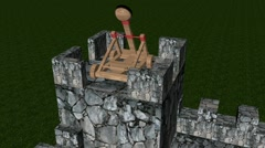 Firing catapult to the castle tower Stock Footage