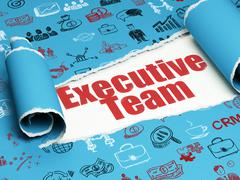 Finance concept: red text Executive Team under the piece of  torn paper - stock illustration