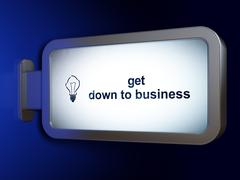 Business concept: Get Down to business and Light Bulb on billboard background - stock illustration