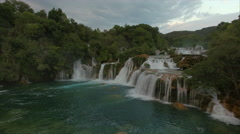 Wonderful aerial video 4K of waterfalls in KRKA National park Stock Footage