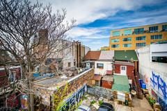View of graffiti on buildings in the Kensington Market neighbourhood of Toron Stock Photos