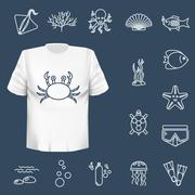 Diving icons set with fish and equipment - stock illustration