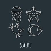 Diving icon with jellyfish, fish, crab and starfish - stock illustration