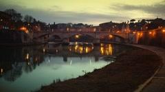 Ponte Vittorio Emanuele II in Rome, Italy Stock Footage