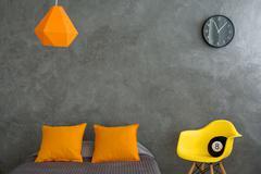 Grey and orange room Stock Photos